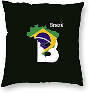 "VinMea Pillow Cases Brazil Initial Letter Country with Map and Flag Decorative Throw Pillowcase Cushion Covers Decor for Sofa Couch Chairs, 20""x20"""