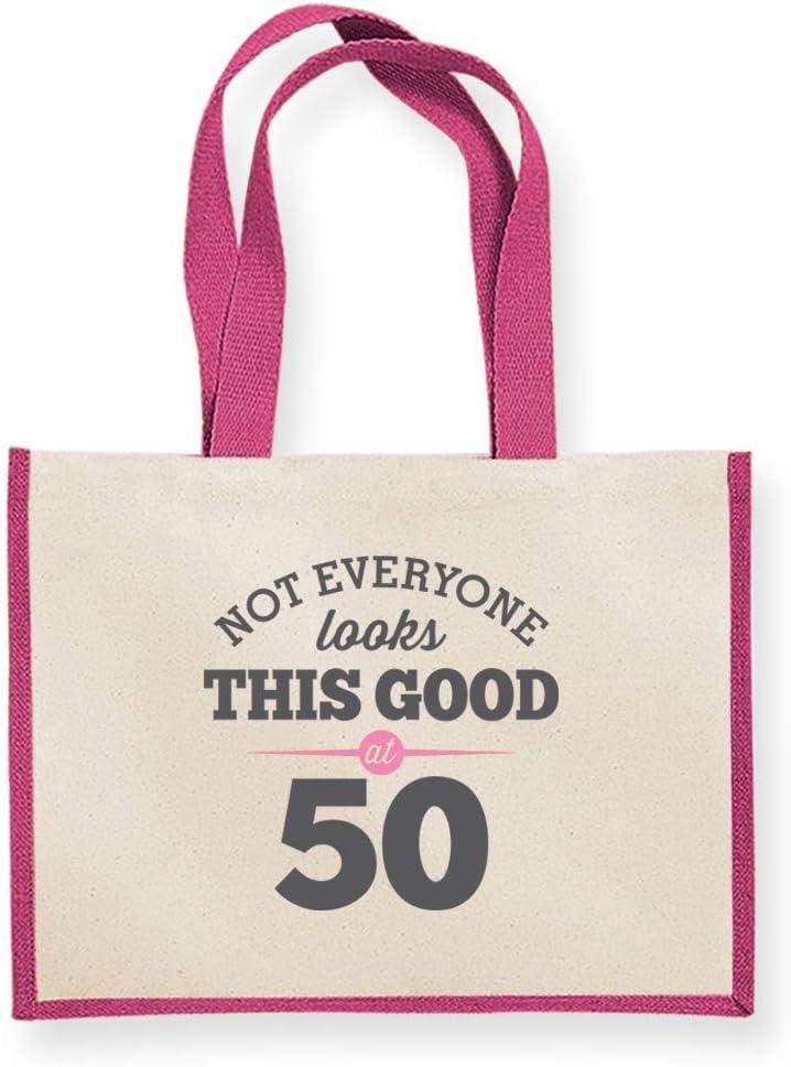 42 x 33 x 19cm tela Regalo para Mujer Regalo Dama hembra aspecto de regalo de cumplea/ños Regalo para Mujer presente Regalo Funny de recuerdo de 50/º cumplea/ños bolso bolsa de la compra natural Regalo Idea de regalo