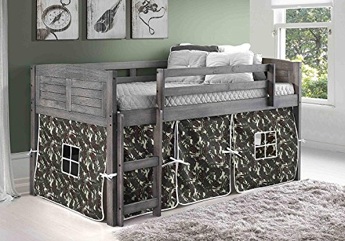 DONCO KIDS 790AAG_750C-TC Louver Low Loft Bed with Camo Tent, Twin, Antique Grey (Antique Canopy Beds)