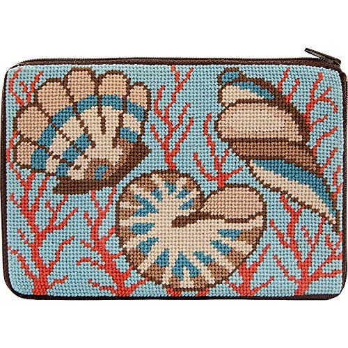 Nautical Needlepoint - Stitch & Zip Needlepoint Purse Kit- Shells & Coral