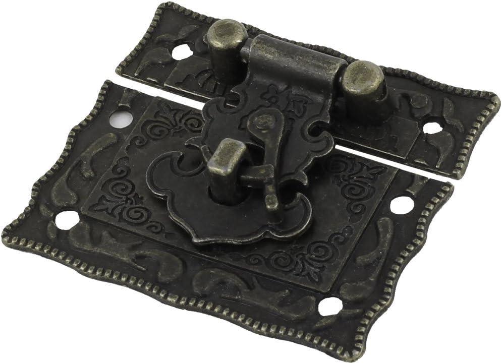 uxcell Pad Lock Rectangular Vintage Metal Hasp Latch Hardware Decorative Bronze Tone