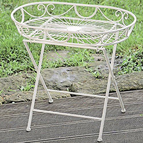 The French Country Style Side Table, Folding, Rustic White, Distressed Vintage Reclaimed Style, Wrought Iron, For Indoor and Outdoor Use, 22 Inches Tall, By Whole House Worlds