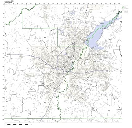 Amazon Com Jackson Ms Zip Code Map Laminated Home Kitchen