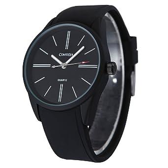 Comtex Hombres Relojes Negros Cuarzo Análogo con Silicona Banda Deportivos Resistente Agua: Amazon.es: Relojes