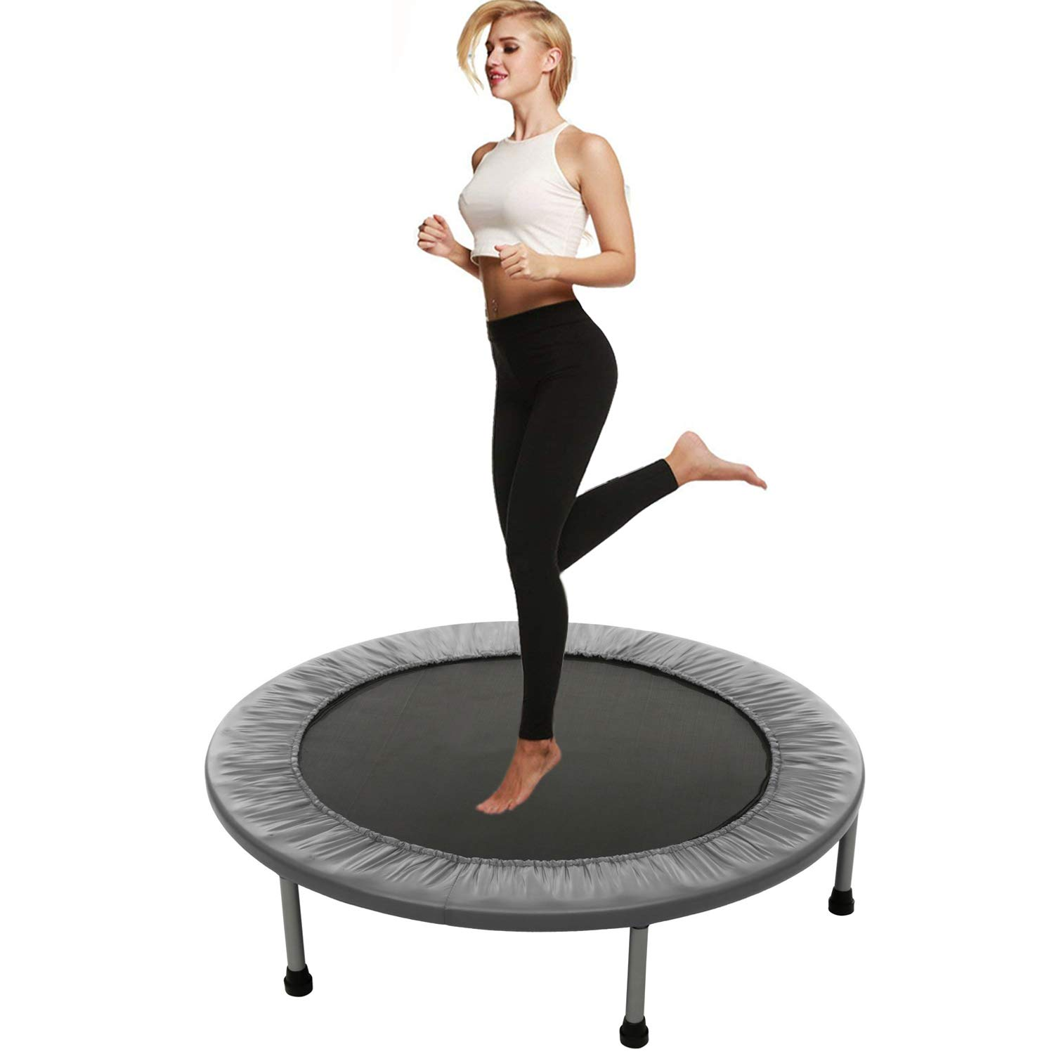 Balanu 40 Inch Mini Exercise Trampoline for Adults or Kids - Indoor Fitness Rebounder Trampoline with Safety Pad | Max. Load 220LBS (Gray-40In-Foldable Once)