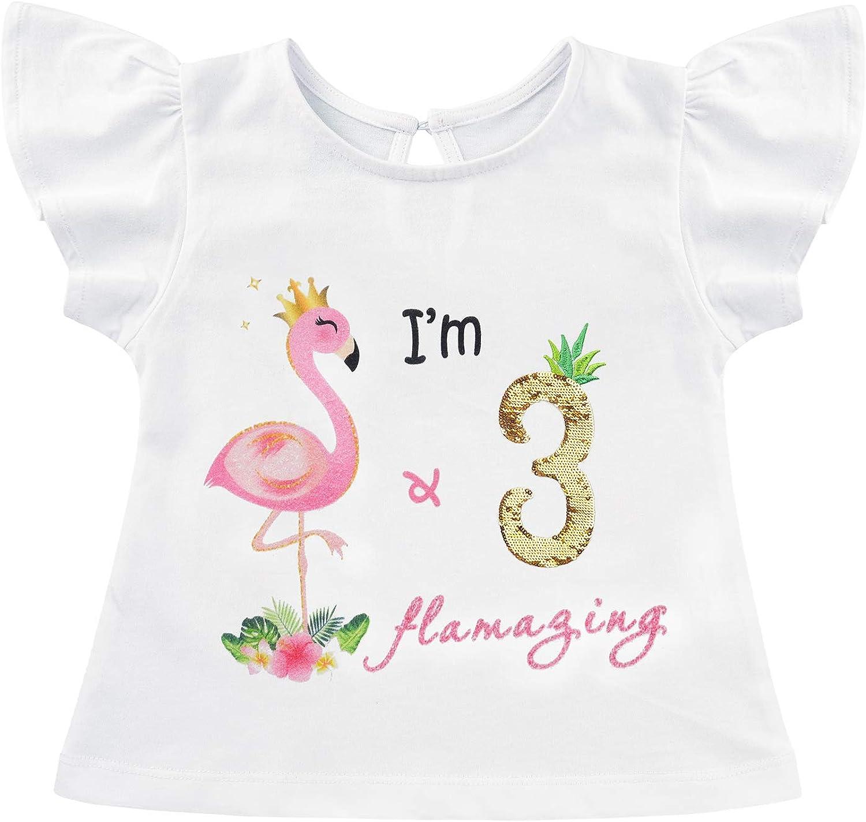 AMZTM Camiseta Cumpleaños Bebé Niña - Flamenco 3ro Cumpleaño Fiesta Manga Corta