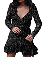 Kimloog Women Tiny Star Print V-Neck Belted Wrap Ruffles Short Mini Dress Beach Party Sundress