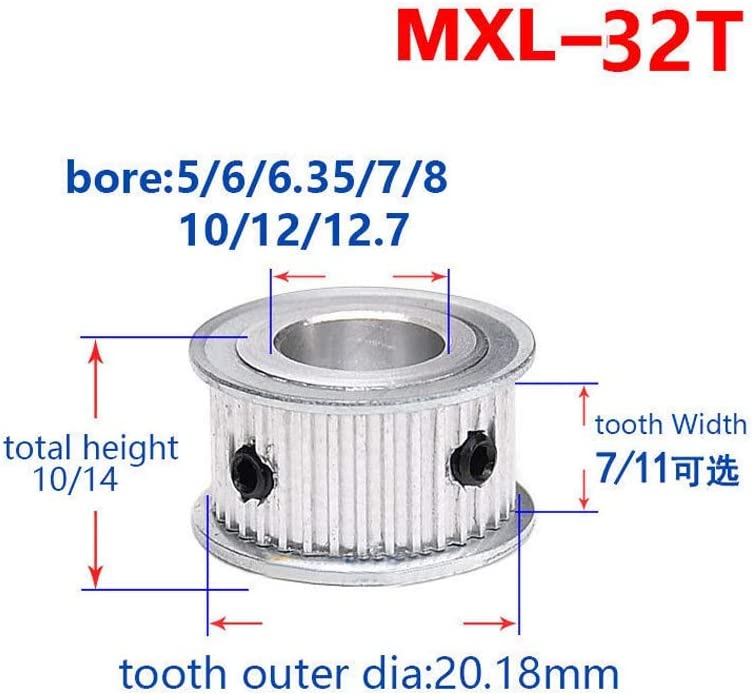 MXL 32T Timing Belt Pulley Synchronous Wheel 5mm Bore For 10mm Width Belt Bore:5mm, tooth width:11mm