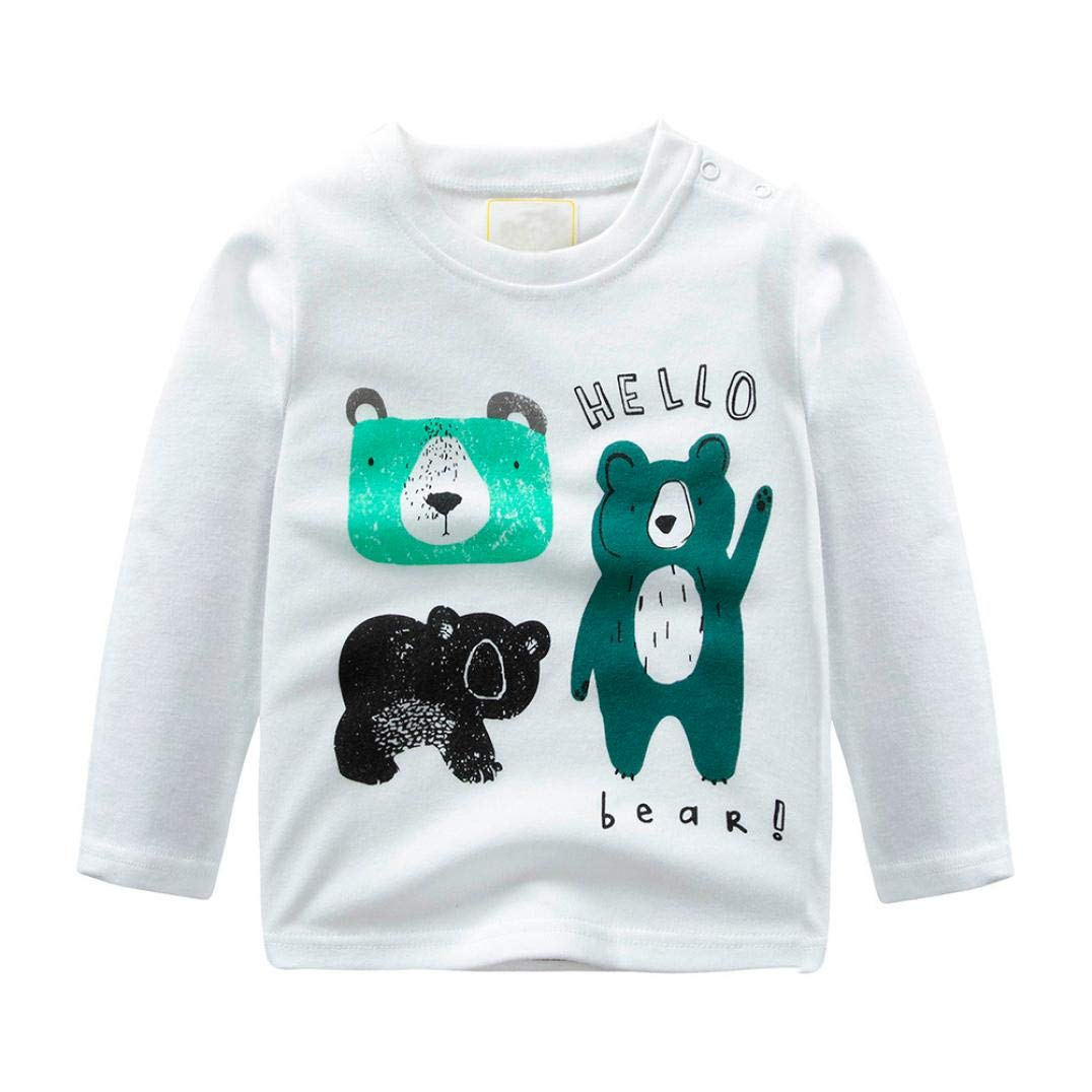 BOBORA Toddler Baby Boys Long Sleeve Polo Shirt Blouse Tops with Cute Bear for 0-4Years