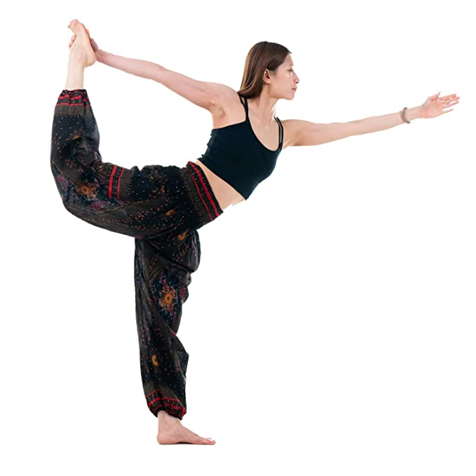 Bangkokpants Womens Boho Pants Hippie Clothes Yoga Outfits Peacock Design One Size Fits