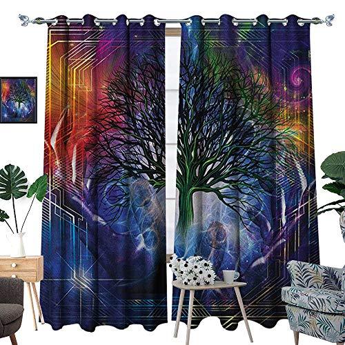 Nature Patterned Drape for Glass Door Human Hand Grabs a Leafless Tree Vitality Symbol Modern Hippie Karma Artisan Theme Waterproof Window Curtain W108 x L96 Blue Purple