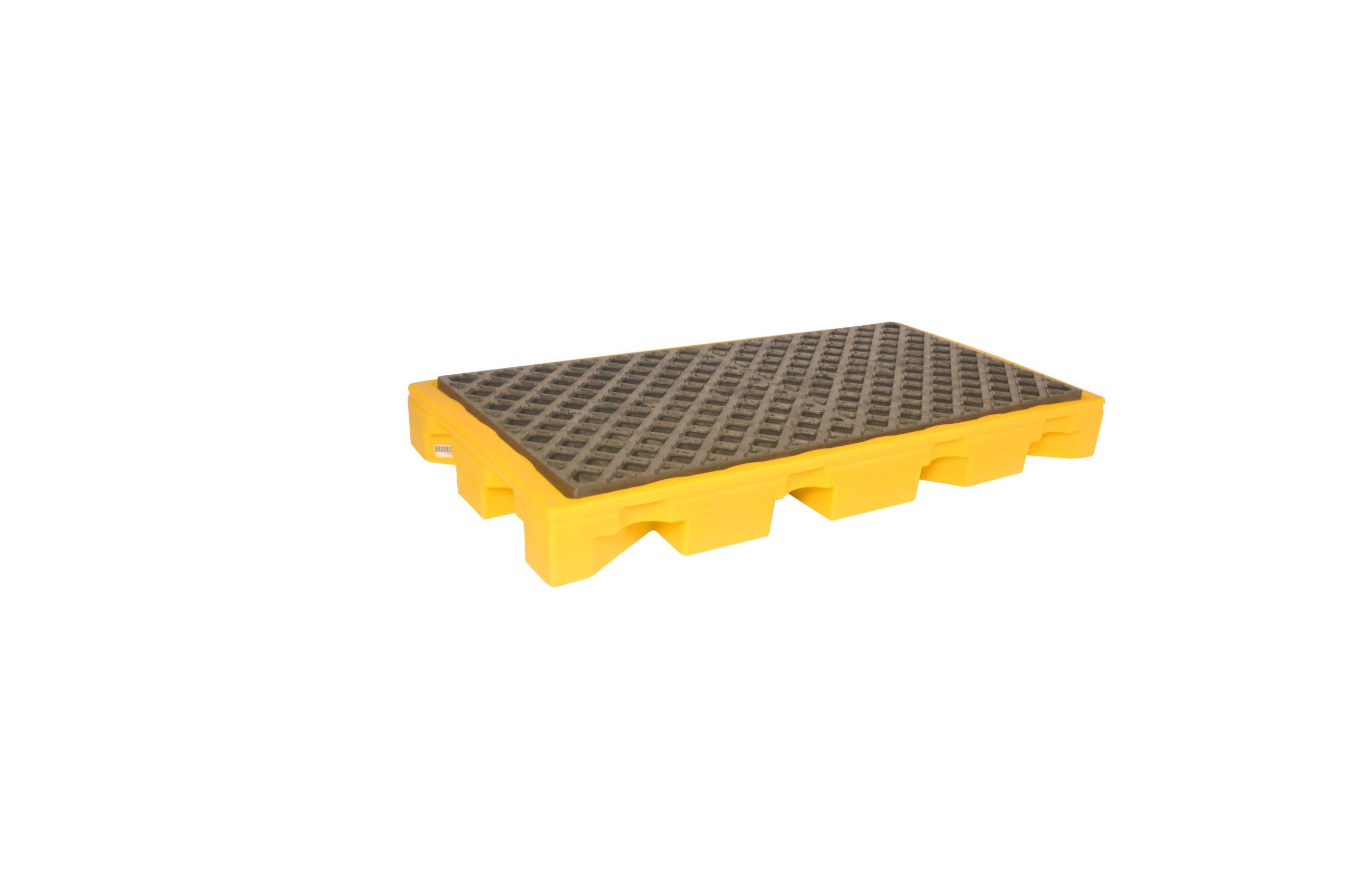 UltraTech 1086 Polyethylene P2 2-Drum Ultra-Spill Deck, 3000 lbs Capacity, 5 Year Warranty, Yellow