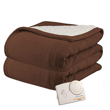 c068a97b638 Pure Warmth Biddeford MicroPlush Sherpa Electric Heated Blanket Full  Chocolate