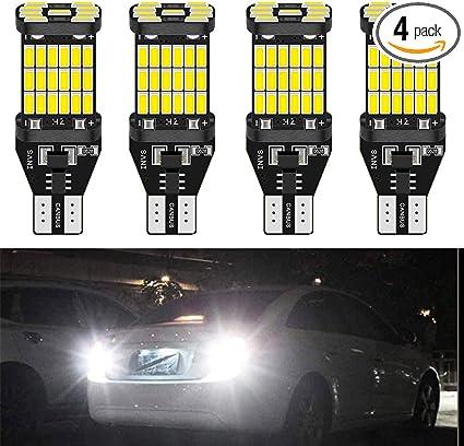 2-Pack 921 912 W16W T15 Extremely Bright 1500 lumens 12V Non-Polarity CREE Chipsets 6SMD LED Bulbs For Backup Reverse Light Third Brake Bulb,Xenon White 6000K