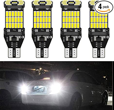 TUINCYN T15 921 912 T10 W16W LED Bulbs White Replacement Car Back Up Reverse Light 10-SMD 3020 CREE Chip Super Bright LED Bulb Car Tail Light Parking Light Brake Light DC 10-16V Pack of 2