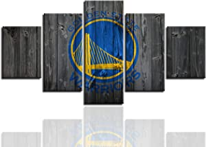 MIAUEN Golden State Warriors Wall Art Posters Pictures Home Decor Canvas Prints 5 Piece Basketball Sports Decoration Paintings Ready to Hang(60''Wx32''H)