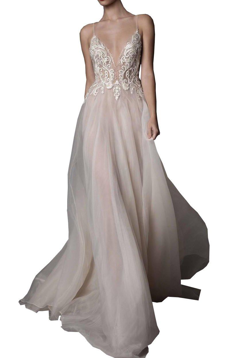 Ellystar Women's Mondern A-Line Spaghetti Backless V Neck Tulle Wedding Dresses White US8