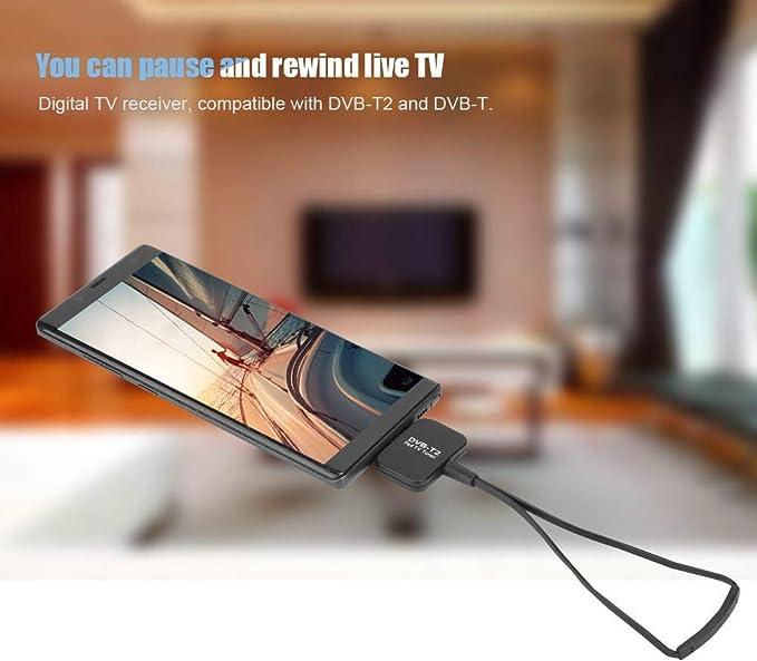 Antena de TV, DVB-T/DVB-T2 Dongle Receptor de TV móvil con ...