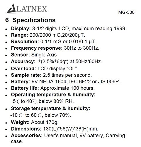 LATNEX MG-300 LF magnetic Field Meter, Measures EMF Radiation from ...
