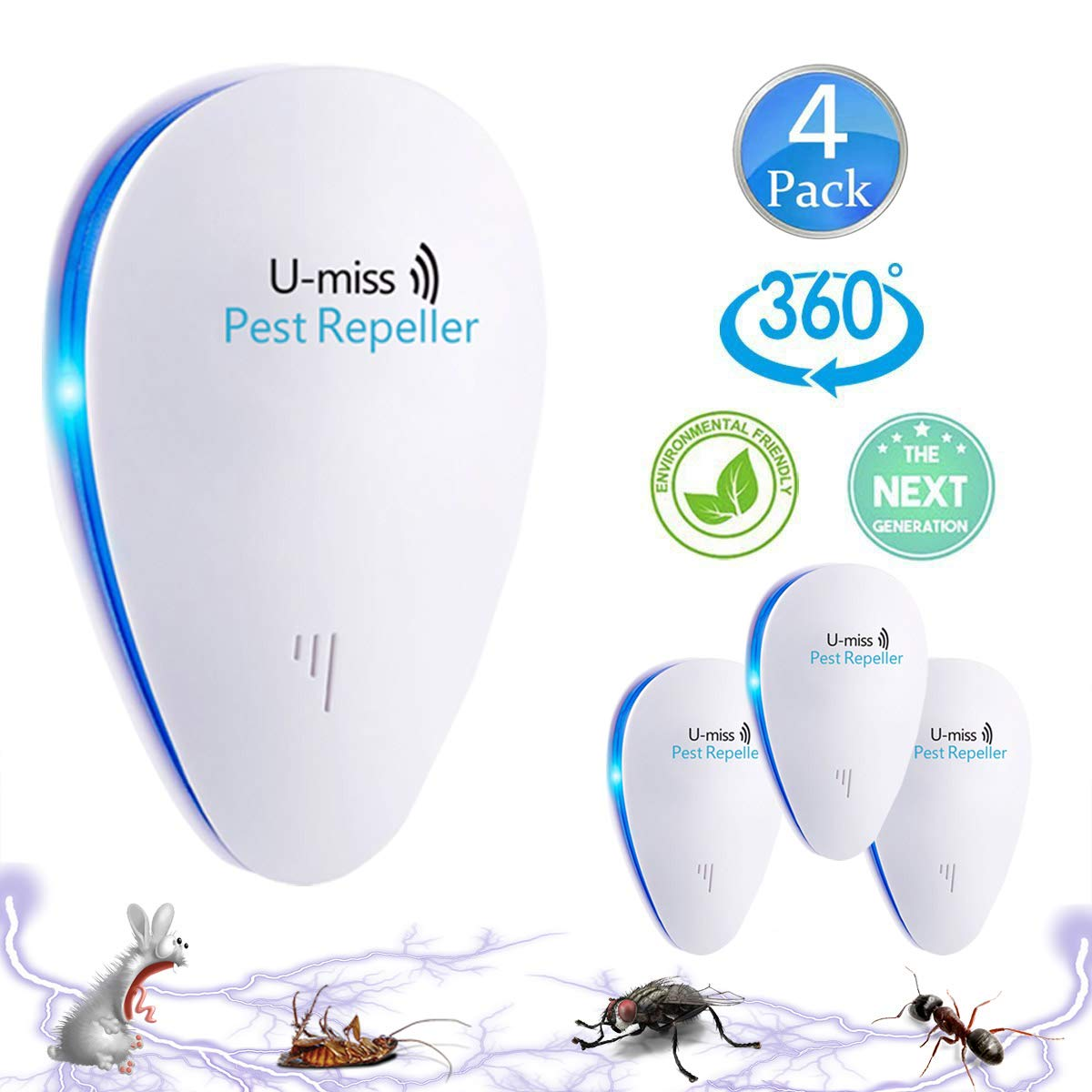 U-MISS [2018 New] Ultrasonic Pest RepellerIndoor Pest Control Ultrasonic Insect Repellent For Cockroach, Mice, Rodents, Spiders, Flies, Ants, Fleas (2pack)