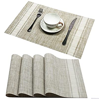 "Placemats set of 4,Topotdor PVC Non-slip Insulation Stain-resistant vertical stripes Placemats for  Home, Kitchen,Office and Outdoor (Stripes White) - Material:PVC,Size in:18"" X 12""(45cm X 30cm),Set of 4.All placemats are cut by hand and maybe one or two inches error Protects the table top surface and reduces noise from plates and flatware Easily stored, it can roll up to put it away, also can be flatted when put out to use - placemats, kitchen-dining-room-table-linens, kitchen-dining-room - 61cMrzlbI1L. SS400  -"