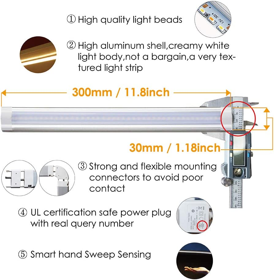 LAMPAOUS Under Cabinet Lighting Kitchen Under Counter LED Lighting Closet Light Strip Touchless Dimming Control Hand Wave Control Book Shelf Lighting,Kitchen Homelife Bookcase Garage Lighting 6000K Cool White,6 Pack