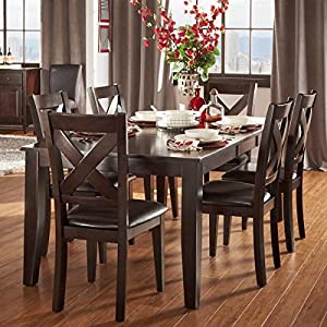 Tribecca Home 7 Piece Dining Room Set Is Crafted From Asian Wood And Has A  Beautiful Merlot Finish