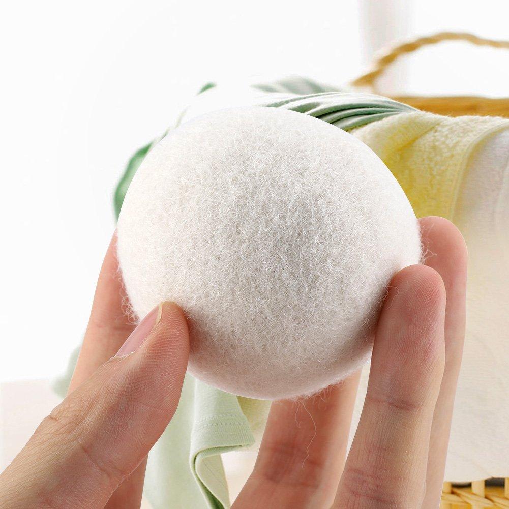 Bolas de lana para secadora 6 unidades, 6 cm, tejido natural, absorci/ón de agua, elimina el secado est/ático de la colada de repuesto FTVOGUE