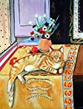 Caroline's Treasures 7079CHF Orange Tabby Cat on The Table Flag Canvas, Large, Multicolor