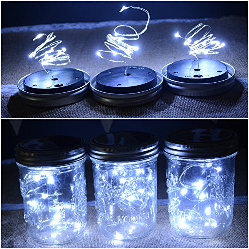 Abkshine Solar Mason Jar Light Wide Mouth, 3 Pack Cool White Solar Powered Table Deck Lamp LED Firefly Fairy Lights for Wedding Christmas Holiday Party Decor(Jars Not Included)
