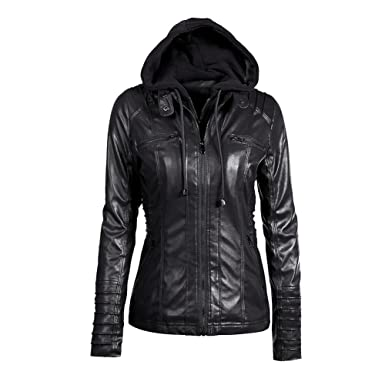 27e4bce4f6 Image Unavailable. Image not available for. Color  iShine Women s Removable  Hooded Faux Leather Jackets Zipper ...