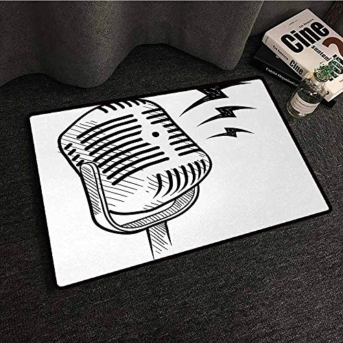 SONGDAYONE Absorbing dust Door mat Doodle Retro Microphone Communication and Media Concept Radio Show Speech Talk Podcast Protective Floor Black White,W19 xL31