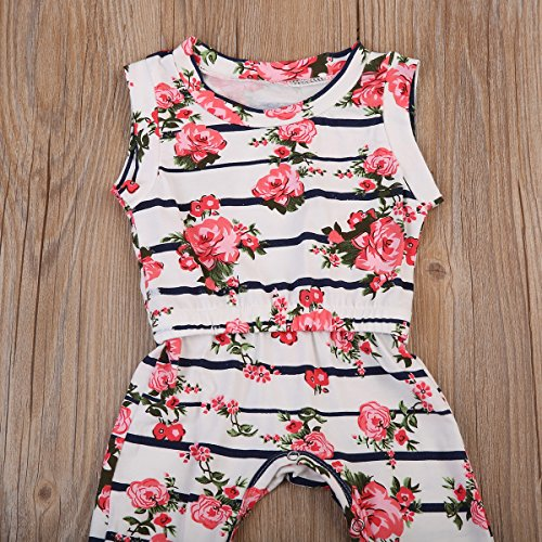 Newborn Baby Girl Floral Printed Romper Outfits Sleeveless Summer Bodysuit (0-6M, White (cotton blend))