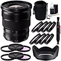 Fujifilm XF 10-24mm f/4 R OIS Lens + 72mm 3 Piece Filter Set (UV, CPL, FL) + 72mm +1 +2 +4 +10 Close-Up Macro Filter Set with Pouch Bundle 7