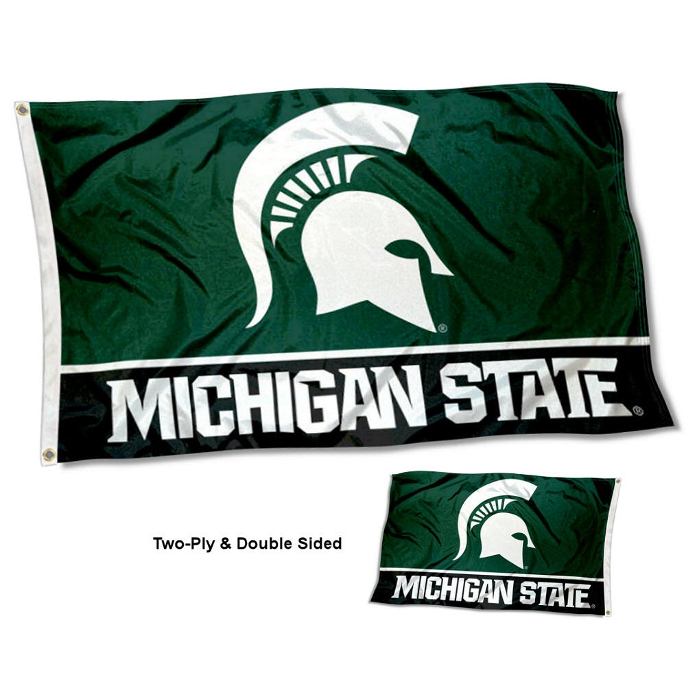 College Flags and Banners Co Michigan State Spartans Double Sided Flag