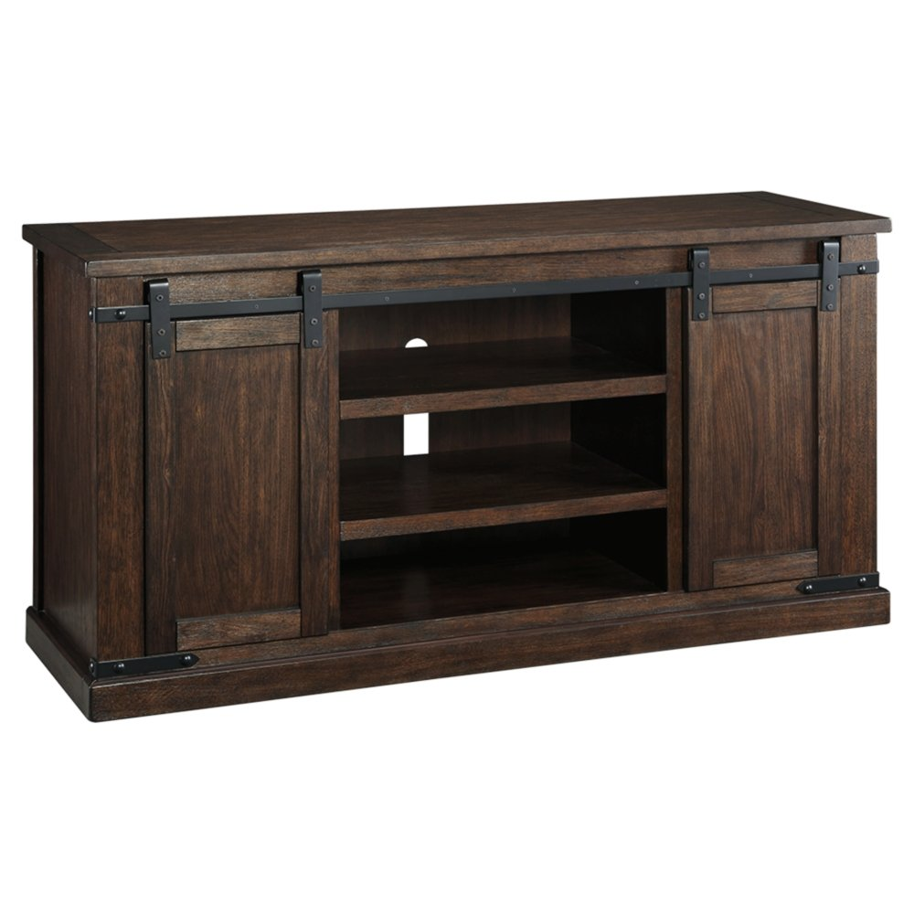 Ashley Furniture Signature Design - Budmore Large TV Stand - Sliding Barn Doors - 60 Inch - Rustic - Brown by Signature Design by Ashley