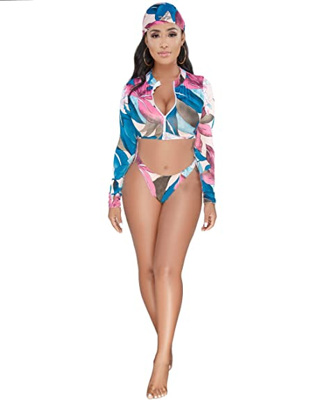 0fa8e4033e646 Amazon.com: VLUNT Women Print 3 Piece Outfits Zipper Crop Top and Shorts  Swimsuit Beachwear with Headscarf: Clothing