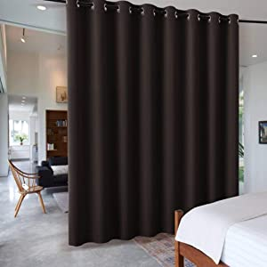 RYB HOME Blackout Office Room Divider Energy Efficient Furniture Protected Large Panel for Wall Space, Easy Hang on Rods or with Hooks for Dressing Room, Wide 15ft x Long 8ft, Brown, 1 Panel