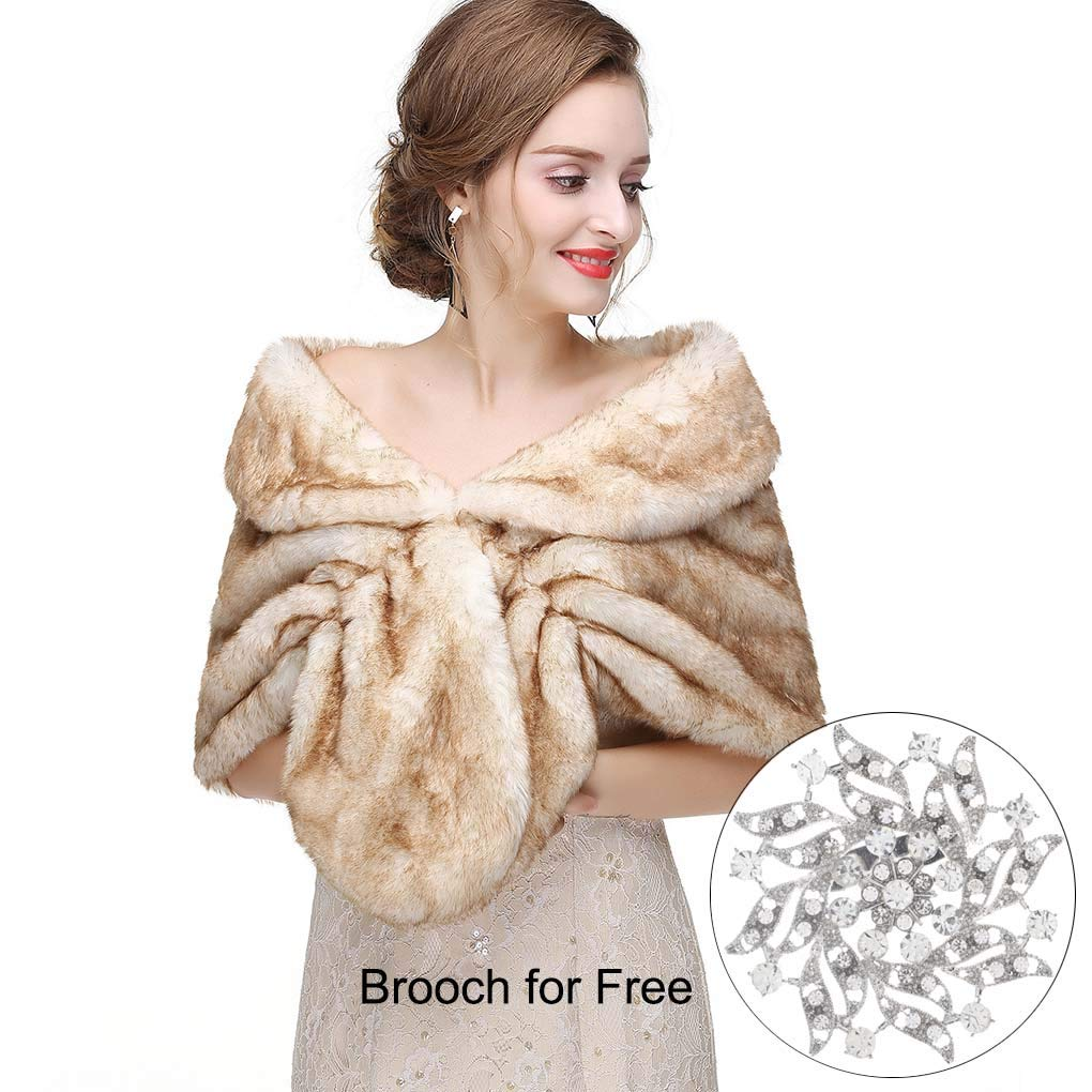 fea1db9c4 CanB Women's 1920s Faux Fur Shawl Bridal Wedding Fur Wraps and Bolero Shrug  Faux Mink Stole for Women and Girls (Light Brown)