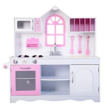 Costzon Kids Kitchen Playset, Toddler Wooden Cookware Pretend Cooking Food  Set with Accessories, Toddler Gift Toy (42\'\'H, Girl Pink)