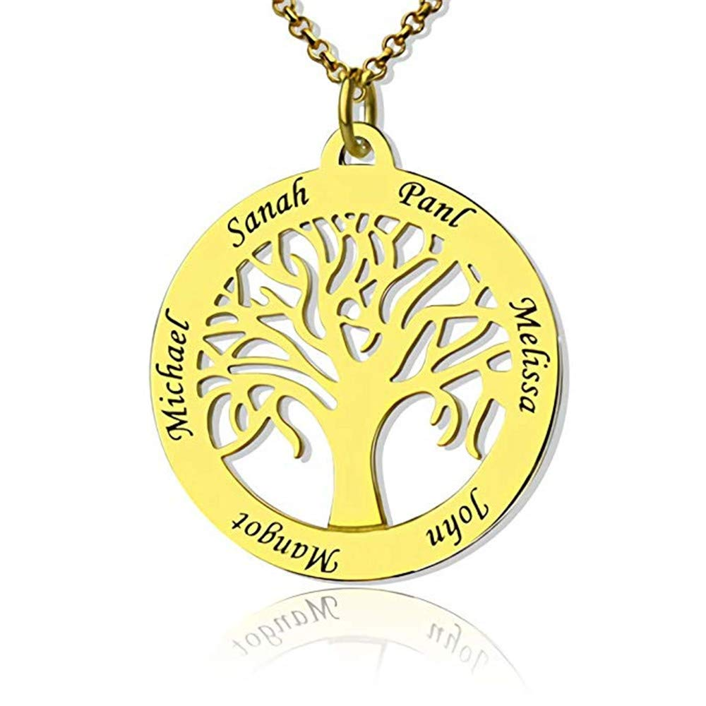 Junmei Personalized Family Tree of Life Name Necklace-Custom Round Necklace with 6 Names