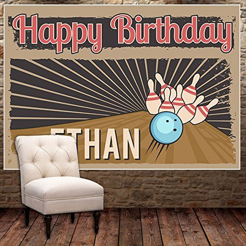 Bowling Ball Retro Birthday Banner Party Decoration Backdrop