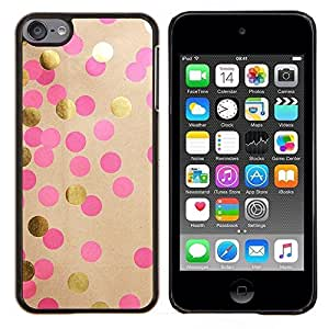 LECELL--Funda protectora / Cubierta / Piel For Apple iPod Touch 6 6th Touch6 -- Dot Arte Papel Brillante Pink Dots --