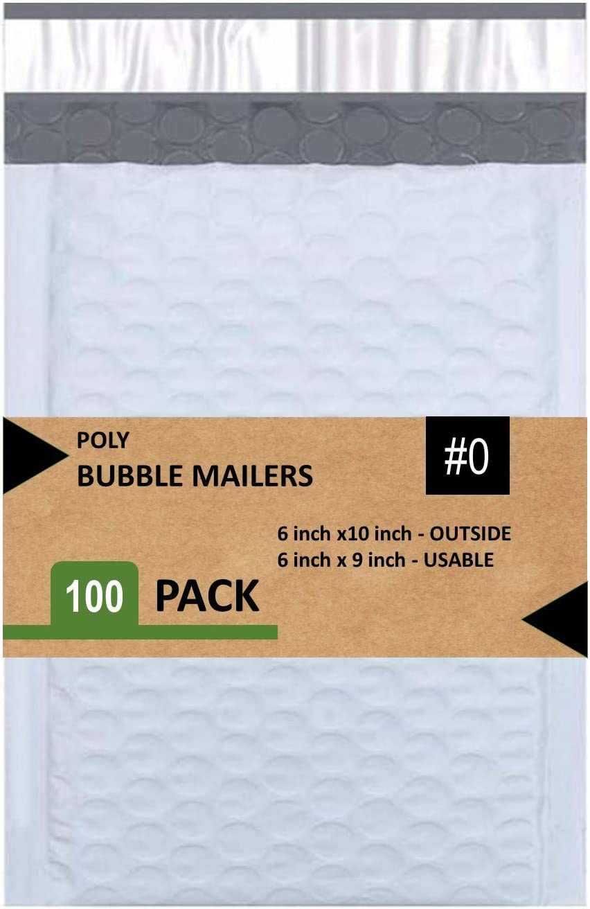 Sales4Less 0 Poly Bubble Mailers 6X10 inches Padded Envelope Mailer Waterproof Pack of 100 , White