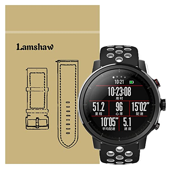 For Amazfit Stratos Band, Lamshaw Silicone Sport Band with Ventilation Holes Replacement Straps for Amazfit Stratos Multisport GPS Smartwatch ...