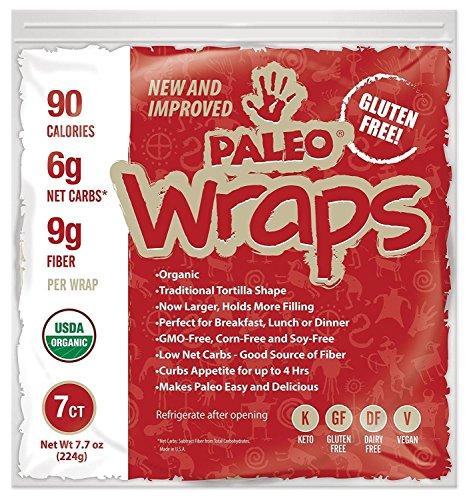 Julian Bakery : Paleo Wraps : Gluten-Free : Grain-Free : 7 Individual Wraps : 6 Net Carbs (Zero Carb Bread)