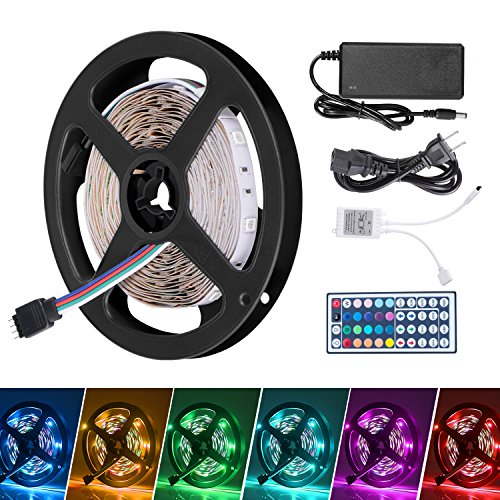 Boomile 16.4 Ft LED Flexible Light Strip, SMD 3528 RGB 300 LEDs Non-waterproof