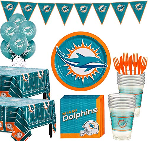 Miami Dolphins Party Decorations (Party City Miami Dolphins Super Party Supplies for 36 Guests, Include Plates, Napkins, Table Covers, and)
