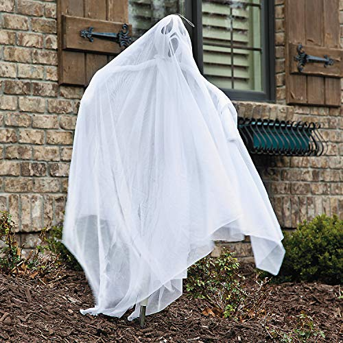 Fun Express - White Ghost Yard Stake W/Led Light for Halloween - Home Decor - Outdoor - Yard Art - Halloween - 1 Piece]()