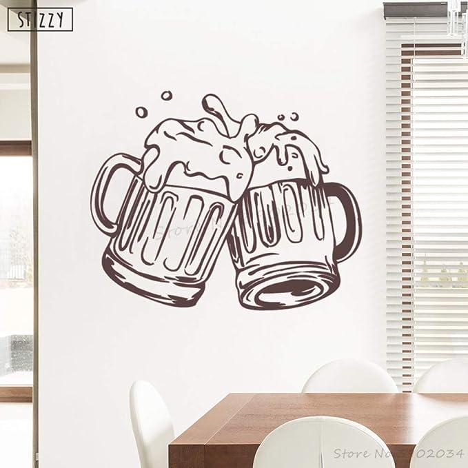 zhuziji Tatuajes de Pared Alcohol Bar Poster Beer Pub Vinilo ...